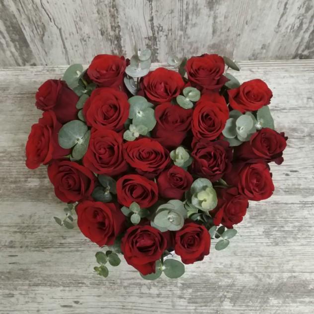 Коробка «Сердечный  сюрприз» 21 роза