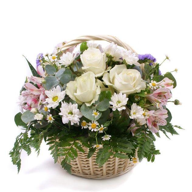 Корзинка с ручкой и милыми цветочками