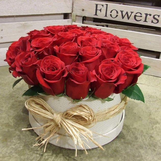 Шляпная коробочка с красными розами