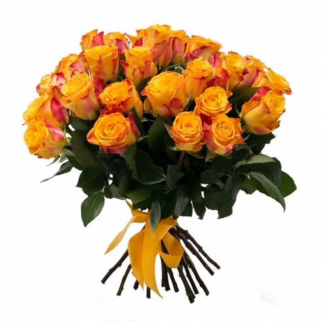 Букет красно желтой розы